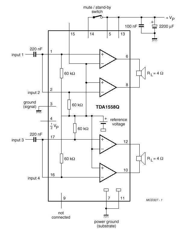 TDA1558Q (2х22Вт)